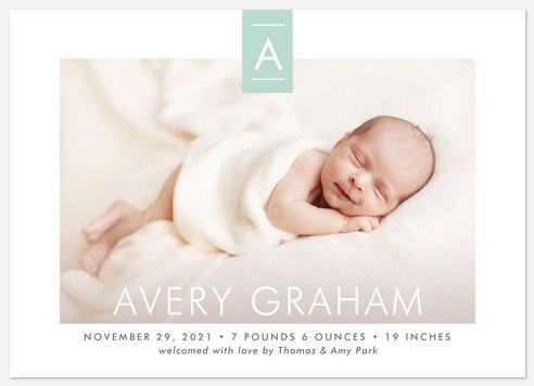 Distinguished Monogram Baby Birth Announcements