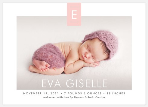 Distinguished Monogram Baby Birth Announcements