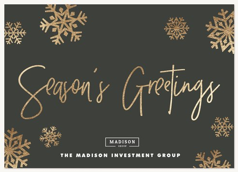 Glimmering Snowflakes Business Holiday Cards