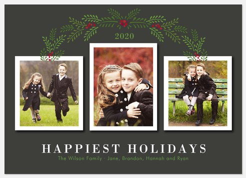 Holly Trellis Holiday Photo Cards