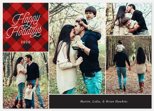 Cozy Plaid Holiday Photo Cards