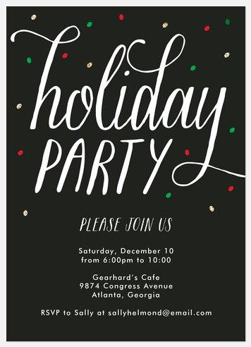 Vibrant Confetti Holiday Party Invitations