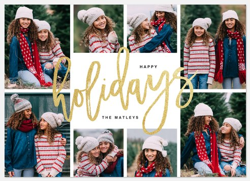 Glittering Script Holiday Photo Cards