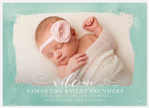 Watery Shimmer Baby Birth Announcements