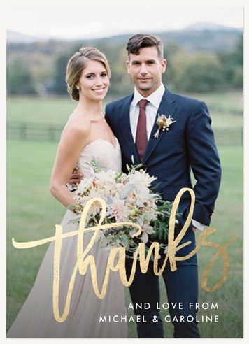 Wedding Thank You Cards, Gilded Thanks Design