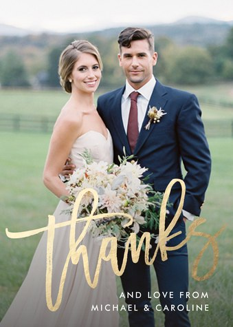 Thank You Cards , Gilded Thanks Design