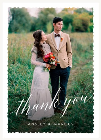 Wedding Thank You Cards, Deckled Edge Thanks Design