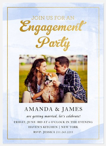 Shimmering Watercolor Engagement Party Invitations