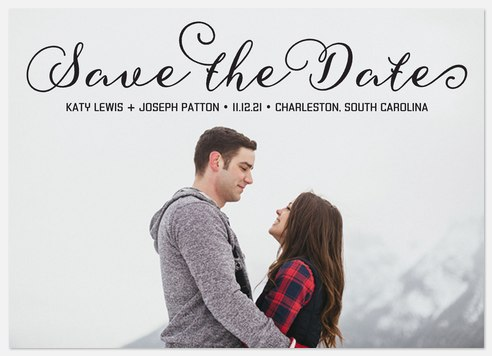 Curly Script Save the Date Photo Cards