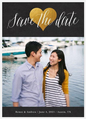 Gilded Heart Save the Date Photo Cards