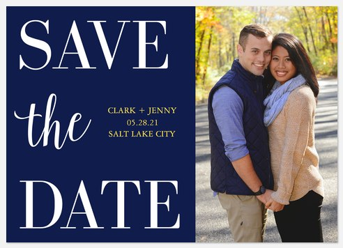Navy Bold Save the Date Photo Cards