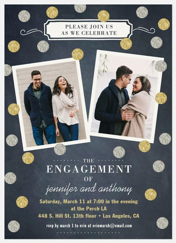Silver and Gold Engagement Party Invitations