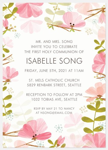 Wildflower Watercolor First Communion Invitations