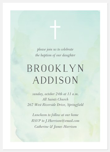 Tranquil Watercolor Baptism Christening Invitations