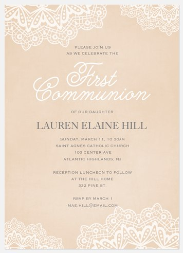 Blessed Lace First Communion Invitations