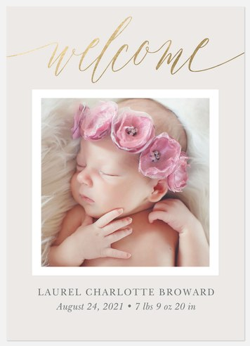 Golden Welcome Baby Birth Announcements