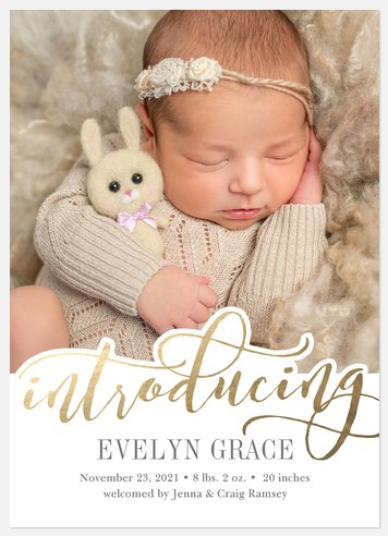 Golden Introduction Baby Birth Announcements