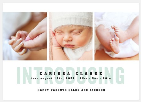 Contemporary Introduction Baby Birth Announcements