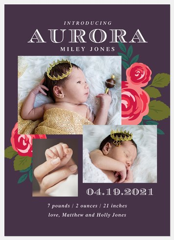Announced With Grace Baby Birth Announcements