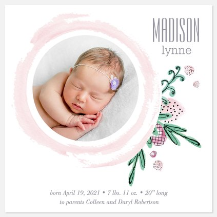Strawberry Florets Baby Girl Birth Announcements