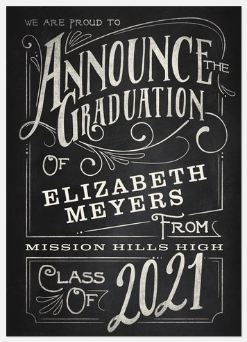 Typographic Chalkboard Graduation Cards