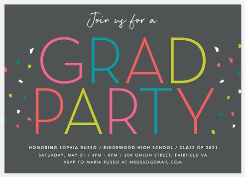 Colorful Party Graduation Cards
