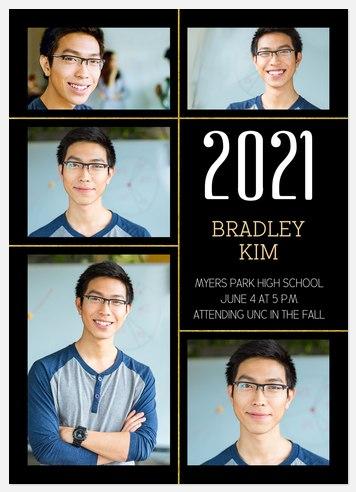 Golden Grid Graduation Cards