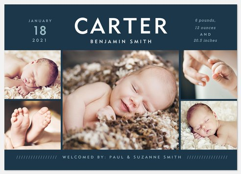 Born Distinguished Baby Birth Announcements