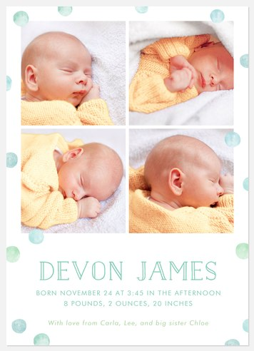 Dreamy Dots Baby Birth Announcements