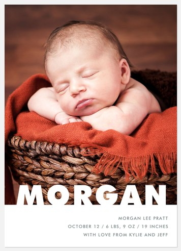 Modern Statement Baby Birth Announcements