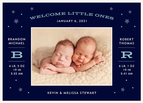 Little Dreamers Twin Birth Announcements