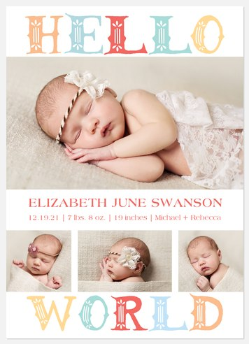Vintage Whimsy Baby Birth Announcements