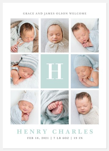 Handsome Monogram Baby Birth Announcements
