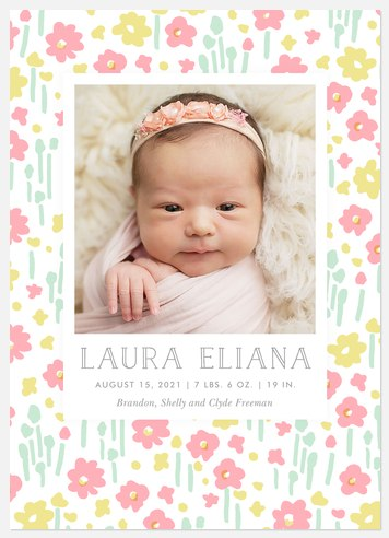 Fields of Flora Baby Birth Announcements