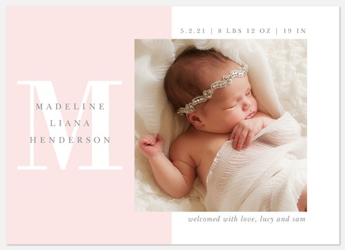 Poised Initial Baby Birth Announcements