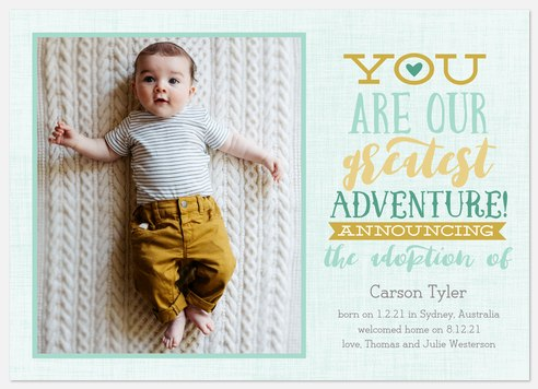 Greatest Adventure Baby Birth Announcements