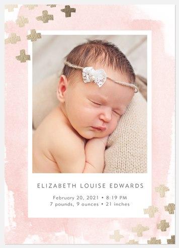 Starlight Corners Pink Baby Birth Announcements