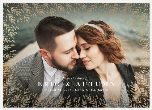 Shimmered Foliage Save the Date Photo Cards