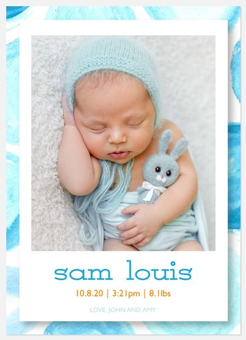 Bright Baby Blues Baby Birth Announcements