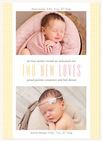 Two New Loves Twin Birth Announcements