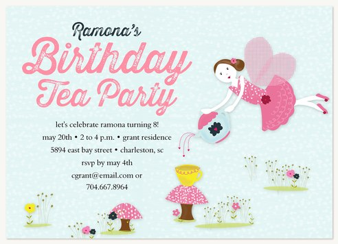 Kids Birthday Invitations Fairy Tea Party – Fairy Tea Party Invitations