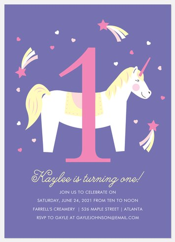 My Little Unicorn Kids' Birthday Invitations