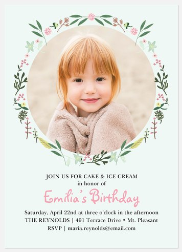Sweet As A Rose Kids' Birthday Invitations