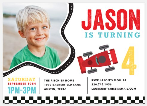 Speed Racer Kids' Birthday Invitations