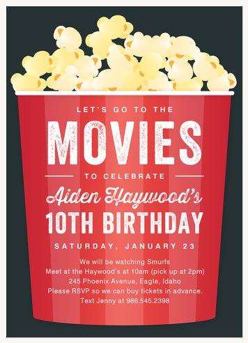 Girl birthday party invitations movie popcorn filmwisefo