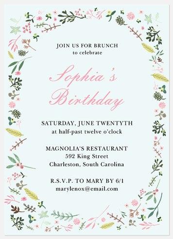 Springtime Flora Adult Birthday Invitations