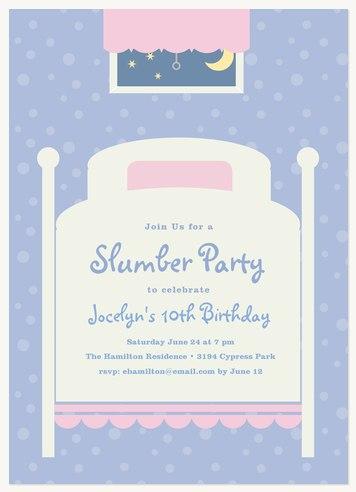 Sweet Slumber Kids Birthday Invitations