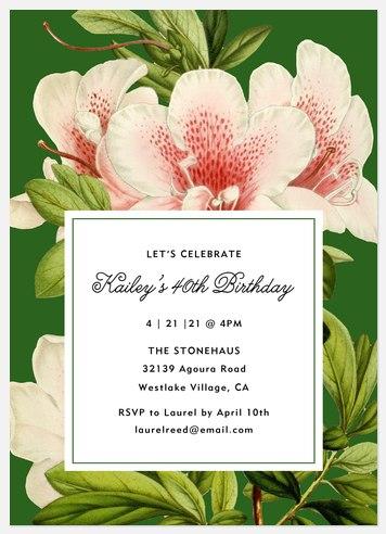 Flora Sophistication  Adult Birthday Invitations