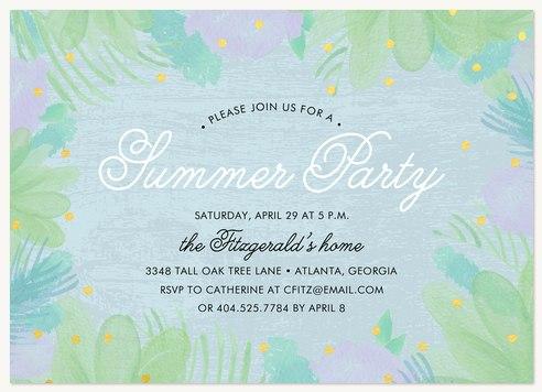 Summer Garden Summer Party Invitations
