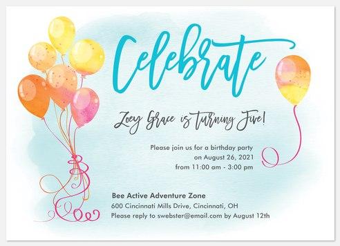 Floating On Air Kids' Birthday Invitations